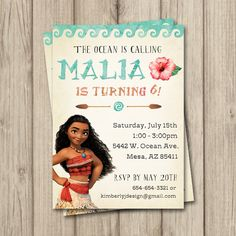 Moana Birthday invite