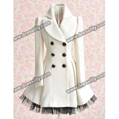 Long Sleeves Lapel Double-breasted Beam Waist Voile Stitching Plicated Ruffles Long Edition Ladylike Women's Coat, WHITE, M in Jackets & Coats | DressLily.com