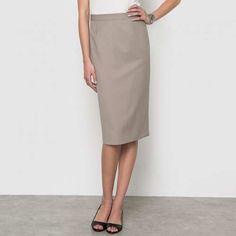 Prezzi e Sconti: #Gonna bi-estensibile lunghezza 62 cm Beigegrigionero  ad Euro 69.95 in #Anne weyburn #La redoute donna abbigliamento