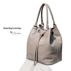 Geanta piele naturala cream napa tip sac