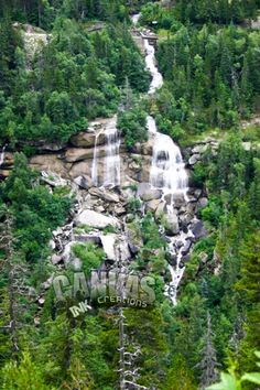 This double waterfall splits at the rosk protruding the mountain as seen from White Mountain Pass near Skagway, Alaska.
