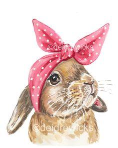 Kaninchen-Aquarell Malerei Druck 8 x 10 Print rabbit drawing bunny art Rabbit Watercolour Painting - Bunny PRINT, Head Scarf, Nursery Art, Lop Eared, Retro Style Bunny Painting, Watercolour Painting, Painting Prints, Art Prints, Spring Painting, Animal Paintings, Animal Drawings, Art Drawings, Painting Illustrations