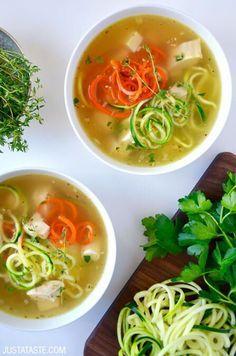 Zucchini Noodle Chicken Soup | recipe via http://justataste.com