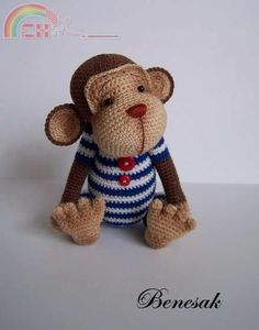 Monkey sailor Joseph by Benesak (pattern in english only)-Communication Area-Bounty Area-PinDIY -