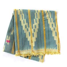 Stunning vintage ikat Baule cloth from Cote d'Ivoire (Ivory Coast) with embroidery. Soft, tightly handwoven strips sewn together and embroidered with pops of color throughout. The textile is in very good condition given its age and origin. #Africa #textile #home
