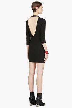IRO Black leather-trimmed Open Back Gaia Dress