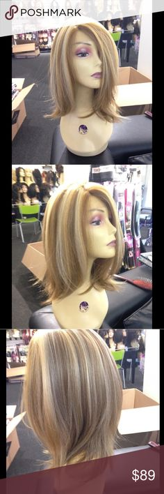 Blonde wig bob Lacefront Swisslace Blonde Mix bob heat resistant adjustable cap wig combs inside curl flat iron styling your new wig just like human hair I ship asap Swisslace Lacefront wig I have this wig in black platinum blue brown and Straight bling raZor cut (new style) all colors ask let's have some fun Accessories Hair Accessories
