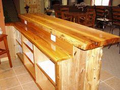 Captivating Custom Bar Top Ideas | Level White Cedar Bar. Log Corners, Tu0026g Black Ash