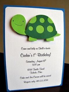 Turtle Party Invitation Tommy by ScrapYourStory on Etsy,