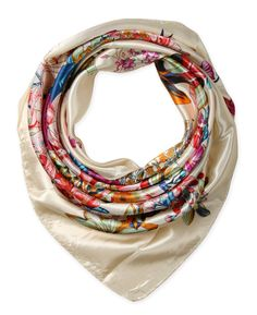 "Corciova®  35"" Silk-like Big Square Scarf 35 x 35 (Flowers ivory background)"