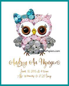 Customizable Owl Cute Nursery Owl Art Button Art Button and Swarovski Crystals Rhinestones Baby Shower Polka Dot Bow Sweet Owl Buttons