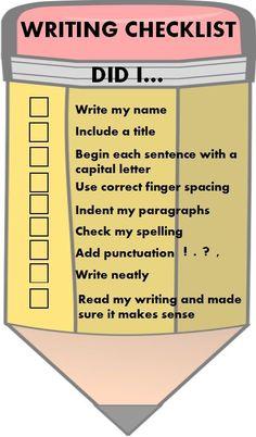 Primary Writing Checklist by Innovative Teacher