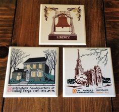 Historical  Ceramic Tile Trivets American Olean Company liberty bell Washington's Headquarters valley forge Old Christ Philadelphia Church by Piklandia on Etsy