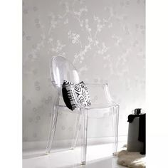 Graham & Brown Cherry Blossom Wallpaper - This beautifully dainty white and silver wallpaper design provides a calm and pleasant general atmosphere for any house. The cherry blossom pattern it. Silver Wallpaper Designs, White And Silver Wallpaper, Brown Wallpaper, Silver Wallpaper Decor, Pearl Wallpaper, Neutral Wallpaper, Metallic Wallpaper, Beautiful Wallpaper, Textured Wallpaper