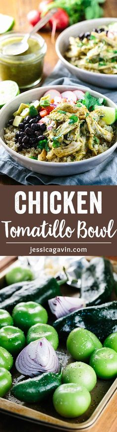 Healthy Chicken Tomatillo Quinoa Bowls - A satisfying easy meal loaded with wholesome ingredients! Tender chicken is tossed in a spicy sauce for a flavor kick! via @foodiegavin