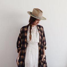 feminine dress and plaid coat