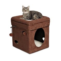 "Amazon.com : MidWest ""The Original"" Curious Cat Cube, Cat House / Cat Condo in Brown Faux Suede & Synthetic Sheepskin : Pet Furniture : Pet Supplies"