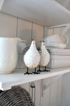 White Country Cottage - Whimsical Chickens