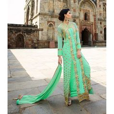 Designer Sea Green Embroidered Royal Georgette Salwar Suit - 8002 ( GS-6270 )