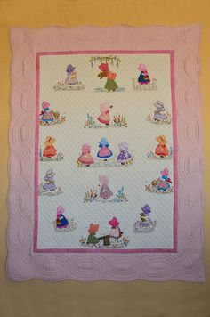 Beth's Sunbonnet Sue Quilt. Feemotion machine applique and machine embroidery