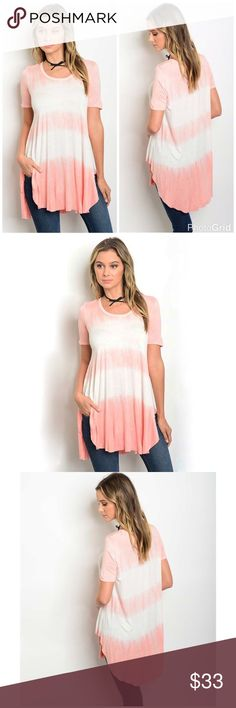 New! Pink & Ivory Tie Dye Tunic Top New! Pink & Ivory Tie Dye Tunic Top. Fabric 95% rayon & 5% spandex  made in USA. No Trades. Price is Firm Unless Bundled. GlamVault Tops Tunics