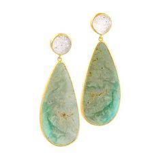Maharani - Maharani Wisdom Sterling #Silver 22k Satin #Gold Overlay #Earrings with #Turquoise #NinaNguyen