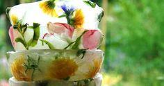 ICE BOWLS Frozen Ice Cube, Ice Bowl, Gazpacho, Edible Flowers, Fresh Rolls, Food Art, Flower Art, Watermelon, Fruit