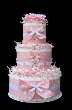 baby girl shower diaper cakes | Pink Polka Dots Baby Girl Diaper Cake by tmomma4 on Etsy