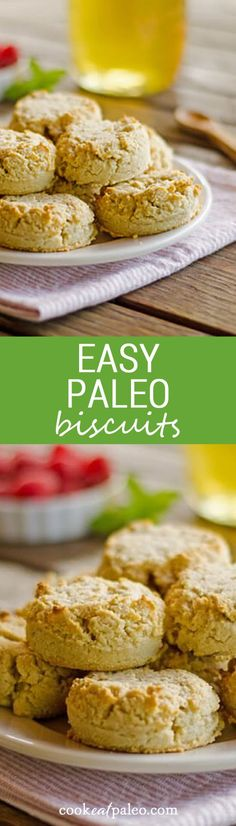 Quick and easy gluten-free, dairy-free paleo biscuits recipe uses just one bowl. I skip the rolling out and just drop them on the cookie sheet. ~ http://cookeatpaleo.com