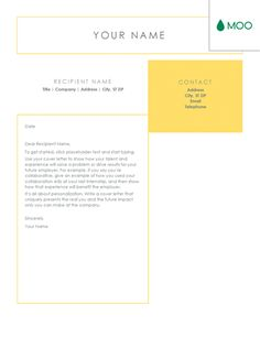 Crisp and clean cover letter, designed by MOO  #coverletter #coverlettertemplate
