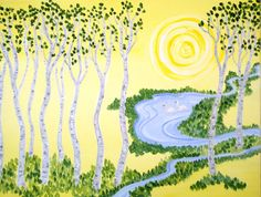 """'My Birch Grove"""" - A celebration of the early spring... Skunk Cabbage in the wet lands. Paint Party choice Info: www.cricketseye.com"""