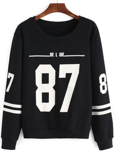 Round Neck Number Print Striped Black Sweatshirt Mobile Site