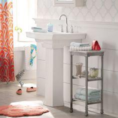 storage near pedestal sink