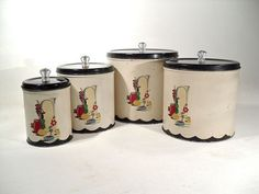 Kitchen Canister Set  1940s Peoria Metal by perfectpatina on Etsy, $65.00