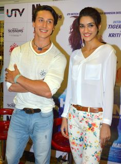 Actors Tiger #Shroff and Kriti #Sanon during a press conference to promote their upcoming film #Heropanti in Jaipur. (Photo: Ravi Shankar Vyas/IANS) #Bollywood #celebrity #style