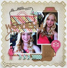 #papercraft #scrapbook #layout.  Me and My Thoughts: Wonderful You created by Cari Locken.  Using the rhinestones, adhesive kraft card stock  chipboard all from Silhouette
