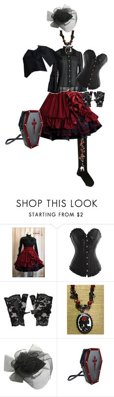 """""""Offbrand Vampiric Gothic Lolita Coord 12"""" by sakuuya ❤ liked on Polyvore featuring Forever 21 and Wet Seal"""