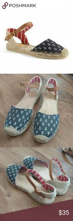 Sperry Top Sider Hope Espadrilles Anchor Shoes In Like New condition! Only worn once. Navy blue with anchors and  red and white ankle ties. Perfect for the 4th of July! True to size. Sperry Top-Sider Shoes Espadrilles