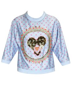 Powder blue heart embellished sweatshirt available only at Pernia's Pop-Up Shop.