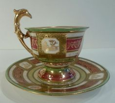 Lovely hand painted and gilt porcelain cup and saucer set by Franz Dorfl, Vienna 1880