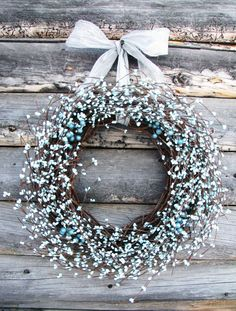 Light Ice BlueBerry WreathSilver & Blue by WildRidgeDesign on Etsy, $50.00