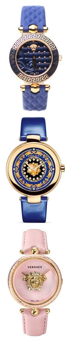 """""""Watches"""" by sjpj ❤ liked on Polyvore featuring jewelry, watches, blue, round watches, versace wrist watch, stainless steel watches, blue watches, swiss quartz watches, versace and accessories"""