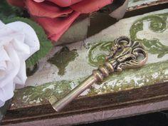 Antique Ornate Bow Brass Skeleton KEY