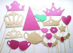 Royal Tea Party Glitter Photo Booth Props - Princess Photo Booth Props - Princess Birthday on Etsy, $38.00