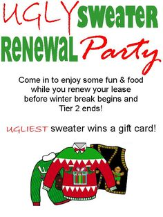 Come Join Campus Crossing Glassboro For An Ugly Sweater Renewal Party! If  You Havenu0027  Apartment Community Event Ideas