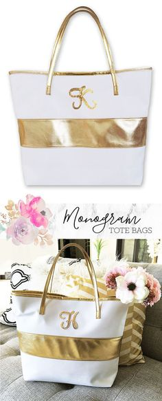 Monogram Tote Bags make a great Christmas Gift Bag for Holiday Gifts this year!  Initial tote bags have a gold stripe in the center and gold sequin monogram.  By Mod Party