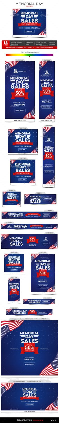 Memorial Day Banners Template PSD