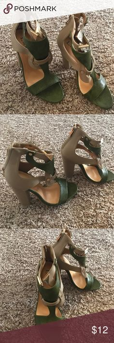 Gorgeous heels!! Never worn!! Gorgeous heels!! Accent zipper on back of shoe!! Gold button accents in front!! Simply gorgeous shoe!! Reposh size doesn't fit!! Shoes Heels