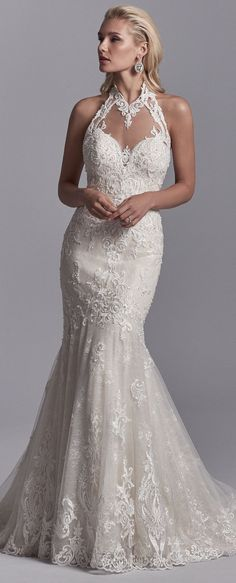 Sottero and Midgley - NERIDA, Embroidered lace motifs and beading cascade over textured tulle in this fit-and-flare wedding dress, trimming the illusion halter over sweetheart neckline and illusion scoop back.