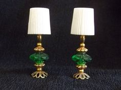 Vintage pair dollhouse lamps, doll house lamp, hand made beaded, green beads, metal with shade miniature mini light set 2 table lamps